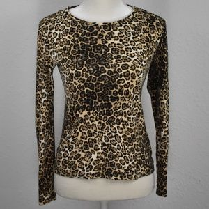 Jones New York Leopard Long Sleeve Tee Small
